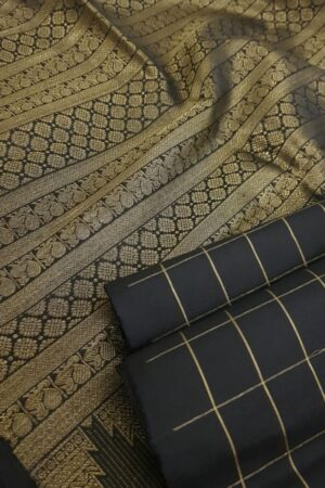 Black kanchipuram silk with zari checks