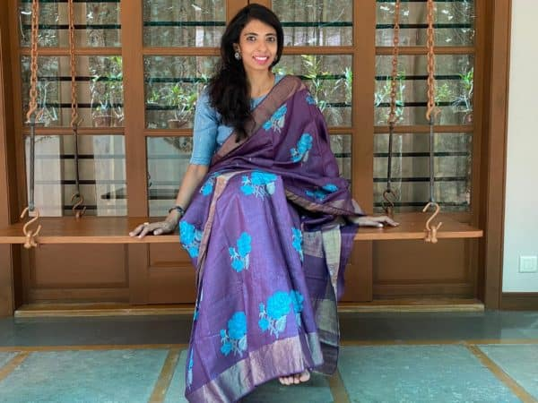 Block printed violet tussar saree with zari border