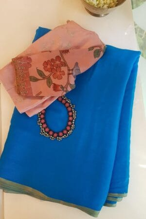 Blue wrinkle crepe saree1