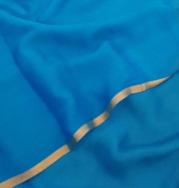 Blue wrinkle crepe saree2