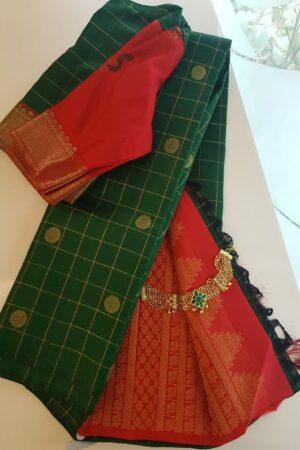 Bottle green with arakku pallu kanchipuram silk saree