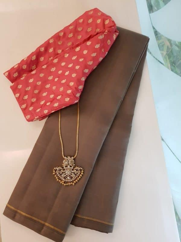 Brown lavanyam kanchipuram silk saree
