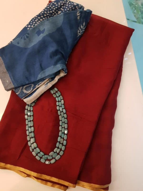 Dark red plain chiffon saree