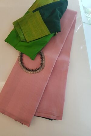 Dusty rose kanchipuram silk saree with zari stripes