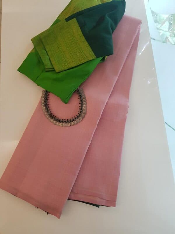 Dusty rose kanchipuram silk saree with zari stripes