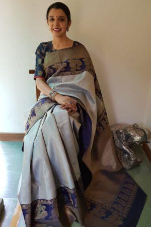 Grey and navy blue bavanji border bridal saree