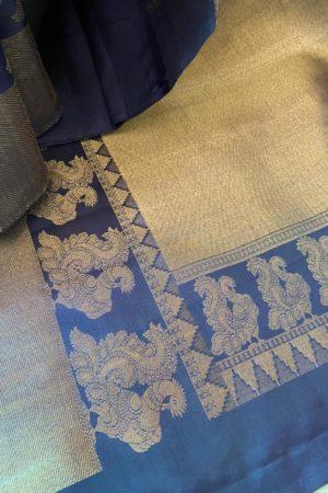 Grey and navy blue bavanji border bridal saree pallu