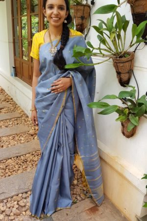 Grey with mustard leaf butta kanchipuram silk saree