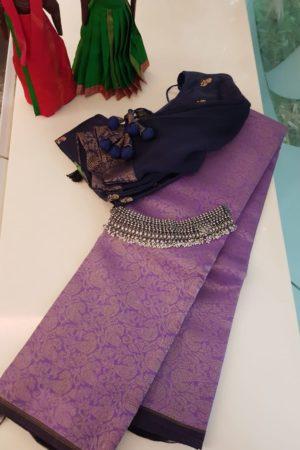 Lavender kora kanchipuram saree