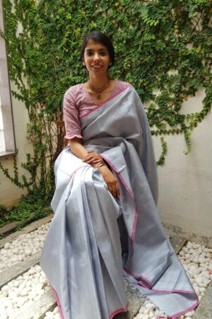 Pale blue zari checks kanchipuram silk saree 1