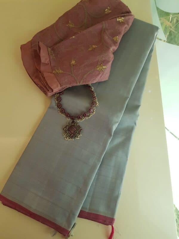 Pale blue zzari checks kanchipuram silk saree