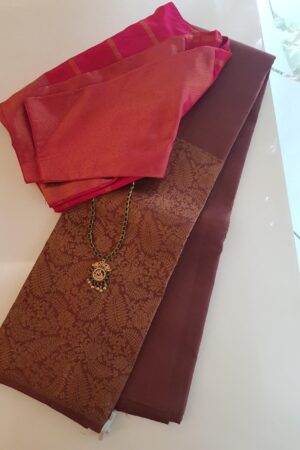 Light brown kanchipuram silk saree with contrast blouse 1