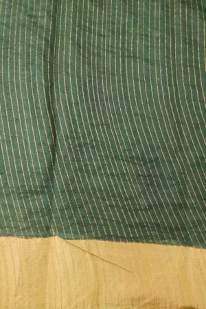 Light green block printed tussar saree with tissue border blouse