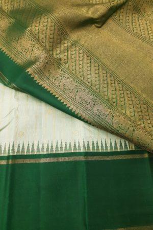 Light green with dark green korvai border silk saree 1
