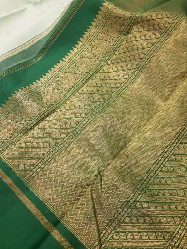 Light green with dark green korvai border silk saree2