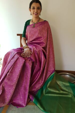 Majenta and bottle green kanchipuram silk saree