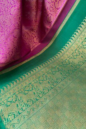 Majenta and bottle green kanchipuram silk saree pallu