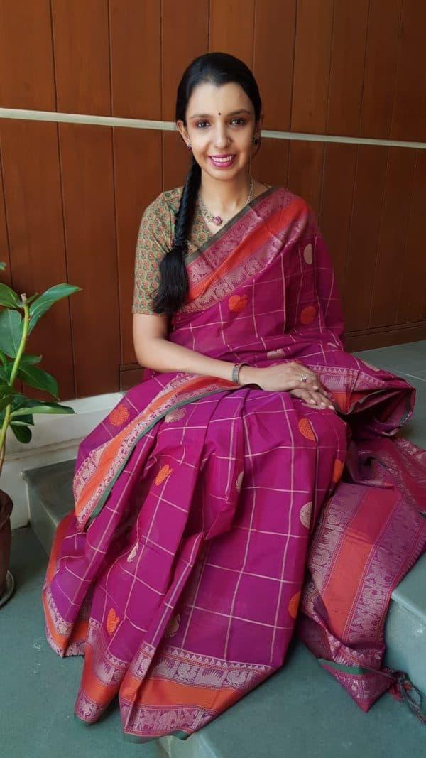 Majenta pink kanchi cotton saree