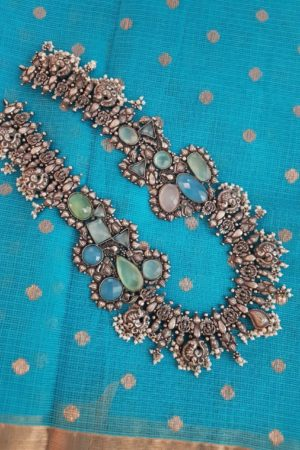 Mini silver haaram with blue and green stones