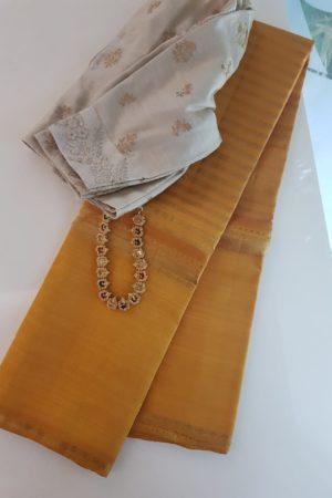 Mustard kanchipuram silk saree with horizontal lines