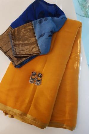 Mustard chiffon saree
