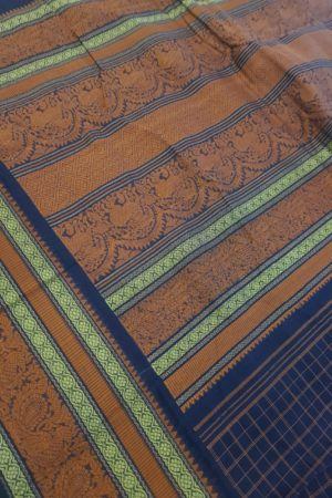 Navy blue kanchi cotton saree with kattam body 1
