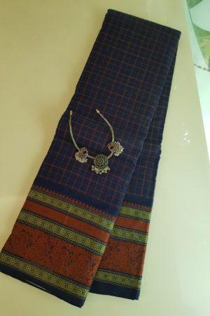 Navy blue kanchi cotton saree with kattam body