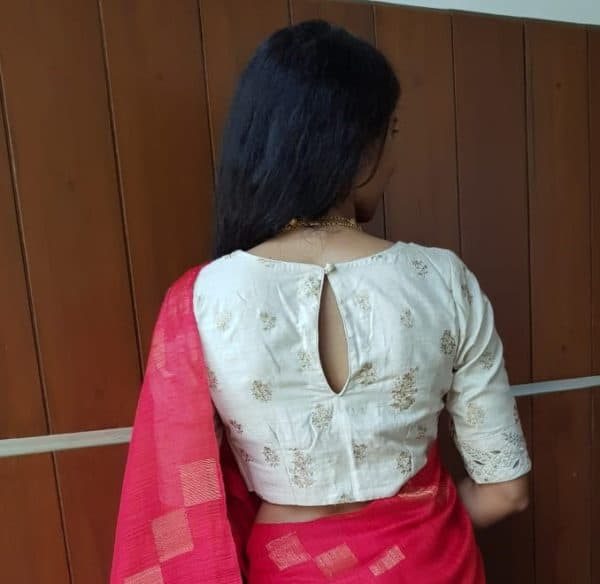Off white tussar embroidered blouse back (2)