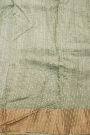 Pale green block printed tussar saree with tissue border blouse