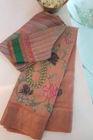 Peach block printed tussar saree