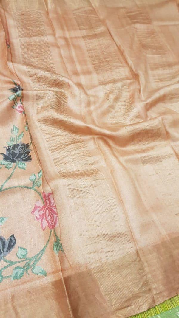 Peach block printed tussar saree pallu