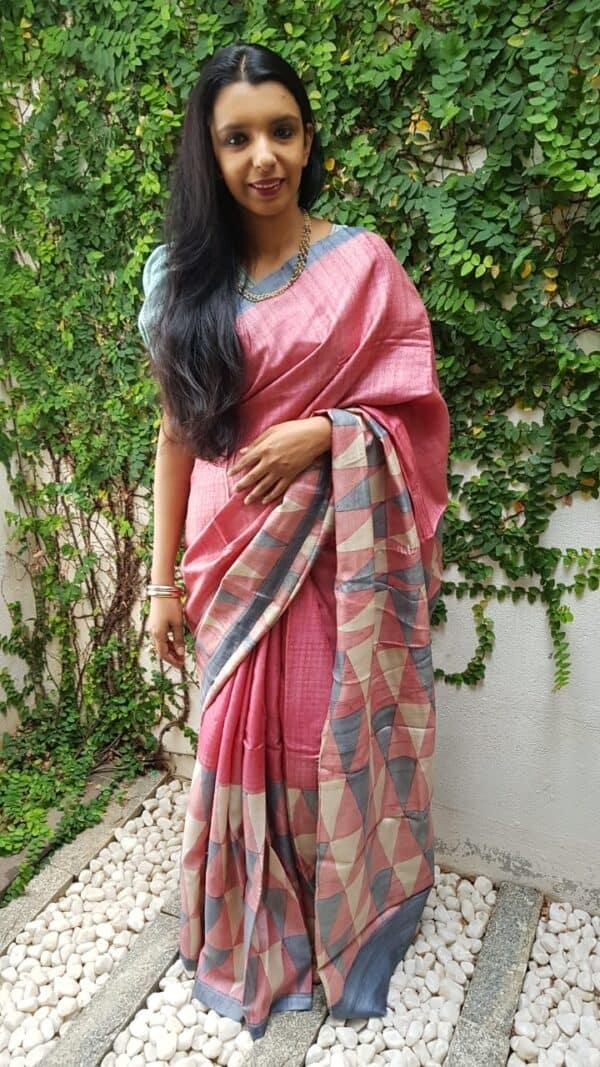 Pink block printed tussar saree 1