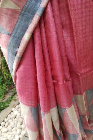 Pink block printed tussar saree 2