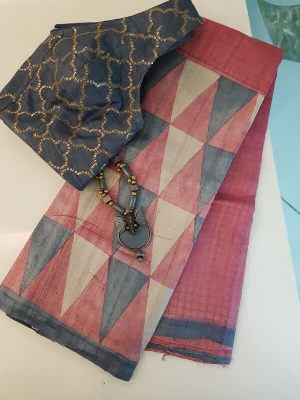 Pink block printed tussar saree