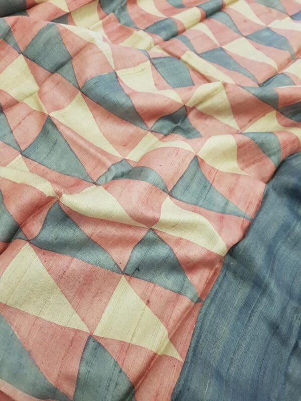 Pink block printed tussar saree pallu