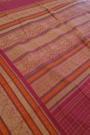 Pink kanchi cotton saree with checks body 1