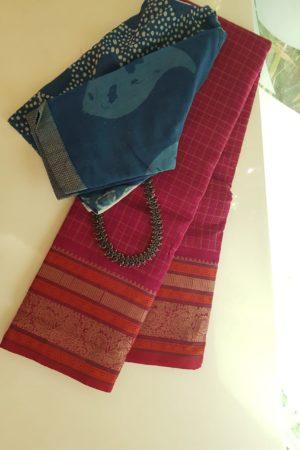 Pink kanchi cotton saree with checks body