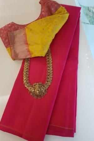 Pink lavanyam plain kanchipuram silk saree