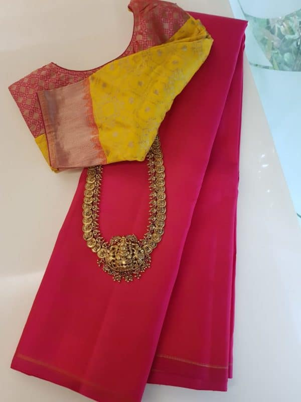 Pink lavanyam plain kanchipuram silk saree
