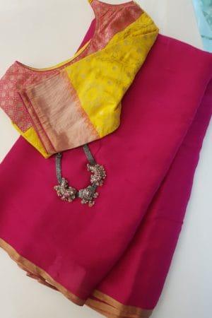 Plain pink chiffon saree