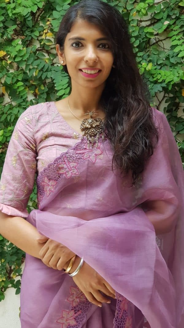 Pinkish mauve chanderi embroidered blouse