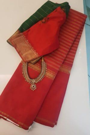 Red long border kanchipuram silk saree with horizontal lines