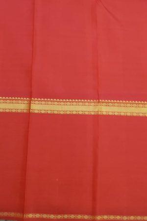 Red long border kanchipuram silk saree with horizontal lines blouse