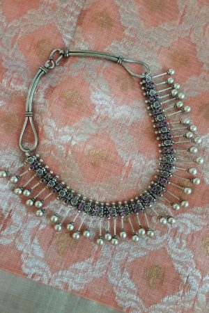 Silver necklace with dual polish