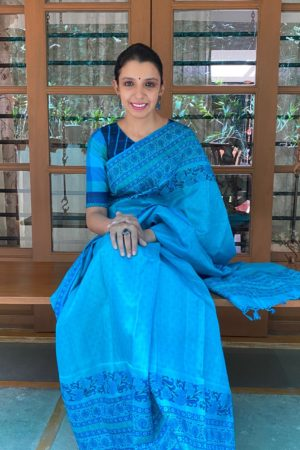 Turqouise blue block printed tussar saree