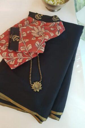 black wrinkle crepe saree