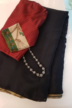 Plain black chiffon saree