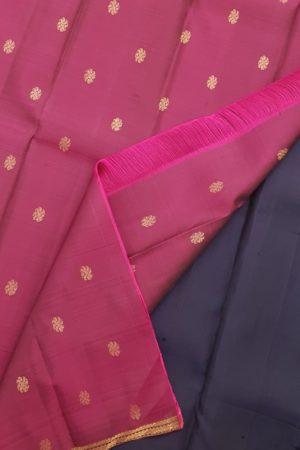 navy blue small border kanchi silk saree 1