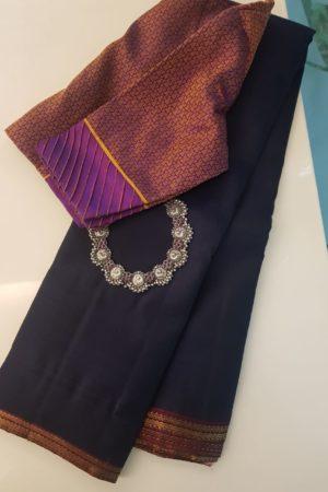 navy blue small border kanchi silk saree