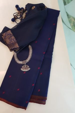 navy blue with arakku leaf butta kanchipuram silk saree
